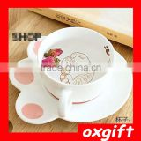 OXGIFT Creative catlike plates, ceramic breakfast milk cup, cute cartoon cat coffee mug, ceramic cup