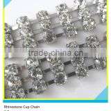 3 Rows Silver Plated Crystal Rhinestone Cup Chain 4mm/5mm Strass Cup Chain Roll For Shoes