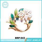 Elegent brooch bouquet gold plated green leaves pearl poppy brooch pin