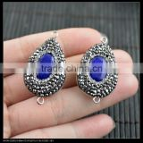 LFD-0062B Wholesale Druzy Blue Agate Stone With Pave Rhinestone Crystal Connectors Beads For Jewelry Making Bracelet Necklace