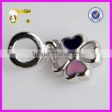 Hot !! Fashion popular Four Leaf Clover European charm beads custom metal logo beads