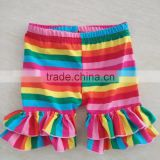 2016 high quality wholesale rainbow printed spring ruffle short for baby girls                                                                         Quality Choice