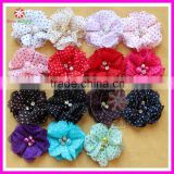 "Rhinestone pearl center fabric chiffon hair flower, polka dot printed chiffon rhinestone flower, 2"" chiffon flower"