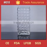 Tall block clear square bubble glass vase                                                                         Quality Choice