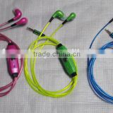 High quality el lighted earphones glowing funny flat cable 3.5mm earphone jack with carring case