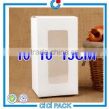 2016 christmas wholesale small sizes 10 * 10 * 19cm white cardboard gift boxes with PVC window                                                                                                         Supplier's Choice