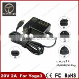 Professional ac power adapter wall charger 20v 2a 40w usb plug laptop ac power adapter charger for lenovo yoga3