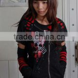 GLP Striped Cat Ear Hoody & Detachable Armwarmers Small Goth Punk Emo Black/Red 71160