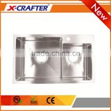 Modern kitchen room furniture 4mm double bowl brushed surface treatment stainless steel sink