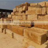Natural yellow sandstone blocks and slabs