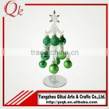 Customized glass christmas tree with green ornament