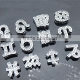DIY rhinestone alloy 12 zodiacs slide charms fit 10mm bracelets