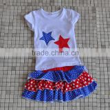 2016 hot sale star embroidery polka dot triple ruffle dress baby girls 4th of July boutique sets