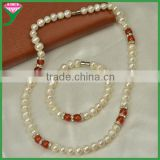 AA fresh water pearl wedding pakistani indian bridal pearl jewelry sets