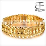 Domineering Fashion 18k Yellow Gold Plated Men's Link Bracelet Carving Copper Wristband