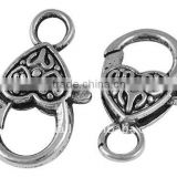 Alloy Lobster Clasps, Heart, Antique Silver(LF9Y-NF)