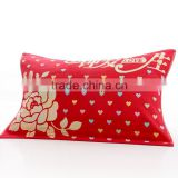 red color three layers pillow towel jacquard rose pattern pillow towels