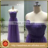 ASAM-16 A-line Pleats Off the Shoulder Sweetheart Zipper Back Floor Length Tulle Long Purple Bridesmaid Dresses
