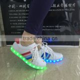 Fashionable white PU led light sneakers light and soft for men and women kids runners