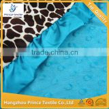 Giraffe With Teal Blue Dots Ruffled Newborn Baby Blanket