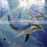 Home element glass mosaic mix blue dolphin swimming pool mosaics