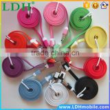 1M Colorful Noodle Flat V8 Micro USB Data Mobile Phone Accessories Charger Cable for Htc Nokia LG Motorola etc 5 pcs/lot
