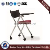 Office rolling mesh training foldable chair & comfortable folding chair , with writing table (HX-5CH041)