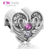 X284 Wholesale Micro Crystal Paved Charm,925 Sterling Silver Heart Charms With Angel Wing