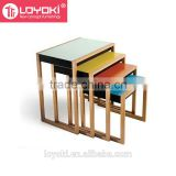 Colorful set of 4 nesting table new carative MDF wood coffee table with glossy painting end table wholesale