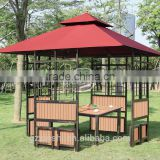 3*3m cheap simple design outdoor garden iron gazebo with canopy plastic wooden with table and chair