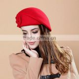 2017 new fashion products red cheap wholesale wool felt Beret hat for ladies winter outing date made in china
