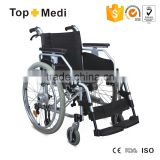 Topmedi hot selling comfortable aluminum manual wheelchair for elderly and handicapped