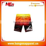 Hongen apparel High Quality Sublimated Custom Mens Cotton Beach Pants Shorts Wear Design