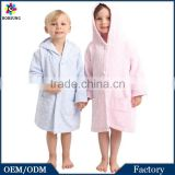 Pink/Blue Boys Girls Unisex 100%Cotton Long Sleeve Muslin Robe Funny Kids Hooded Polka Dots Pink Dressing Gown Bathrobe