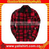 Custom hot sale comfort cheapest red plaid high quality fleece latest coat styles for men 2013