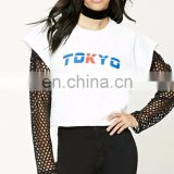 CK010 Top Sellers Long Sleeve Round Neck Raw-cut Top for Women