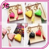 Color PU Creative Leather Small Wallet Keychain Bags Ornaments Tasseldecoration