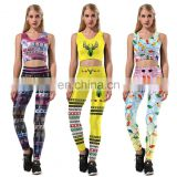 Christamas 3D Print Crop Tank Top Bra/ Pants Leggings Fitness Clothes Set
