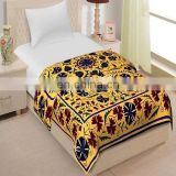 Embroidered suzani bed cover Bedspread Cotton Bed Sheet Wall Hanging Yellow Colo