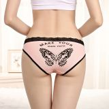 Yun Meng Ni Sexy Underwear Soft Lace Waist Belt Girls Briefs Back Butterfly Print Cotton Panties