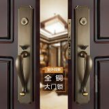 All copper Nordic simple villa dual open large door lock conference room door lock solid wood door pure copper door lock