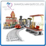 Mini Qute DIY intellect train rail track Transport vehicle action figure plastic building block model educational toy NO.25811