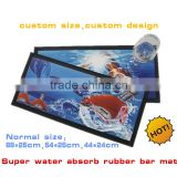 Customized design printed custom rubber bar mat, super water absorb custom rubber bar mat