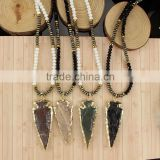 NE2362 Gypsy Festival Accessory, Gold Dipped Arrowhead gemstone pendant statement necklace 2016