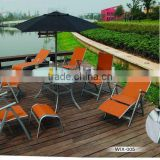 steel rectangle glass table with 6pcs folding chair and one folding lounger and one umbrella