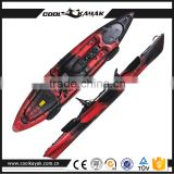Hot selling no inflatable sit on top plastic single fishing kayak with rudder rowing boat