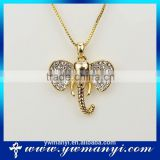 2016 charm custom jewelry pave rhinestone shape elephant pendant necklace P0009