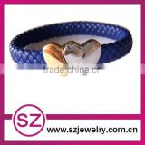 PUB0078 wholesale hand bands leather bracelet with alloy heart clasp plain leather bracelet for women