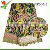wholesale ankara african wax prints fabric with high quality gold guipure cord lace hollandis wax fabric textile