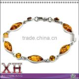 Natural Amber Sterling Silver Contemporary Marquise Gem Stone Bracelet